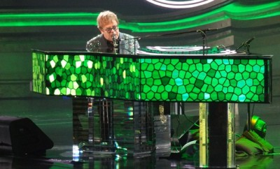 Elton John on the million dollar piano; concert at Caesar, photo by Jason DeBord.
