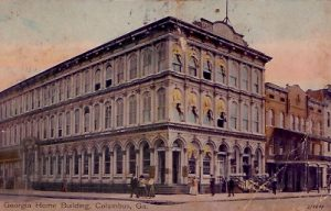 This postcard was postmarked in 1908. This building appeared on a .50 paper currency bill issued by the Bank of Columbus in 1862. http://postcardman.org/Columbus/businesses.htm