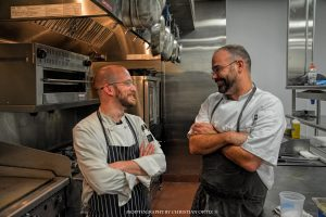 Chef Bradley Andries on the left